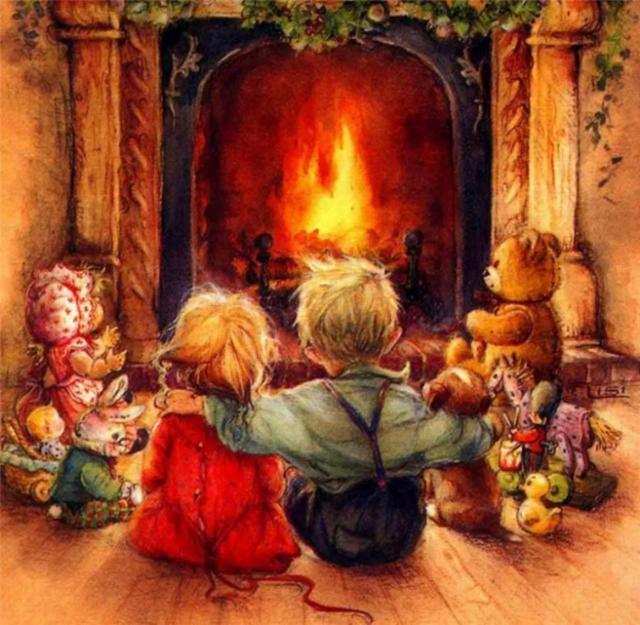 Оригинал - Схема вышивки «Дети у камина» - Схемы автора «sofi-10 ...