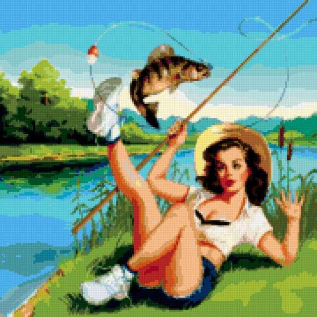 Рыбалка, девушка, рыбачка