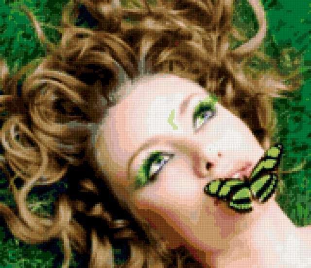 Лесная нимфа и бабочка,