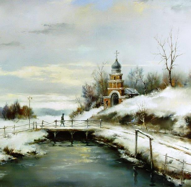 Пейзаж с сельской церковью,