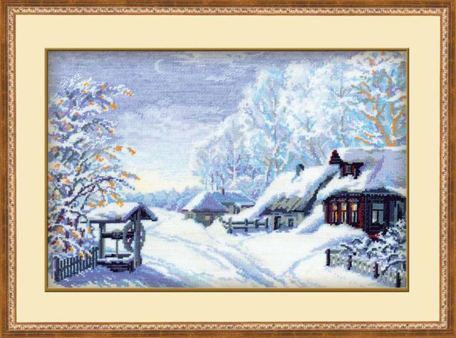 Зима в деревне, картина,