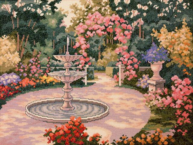 Фонтан в саду, картина, фонтан
