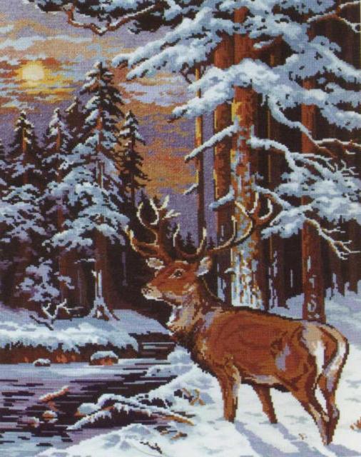 Олень в зимнем лесу, оригинал