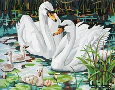 Семья лебедей, птицы