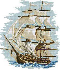 Вышивка крестиком схемы парусник