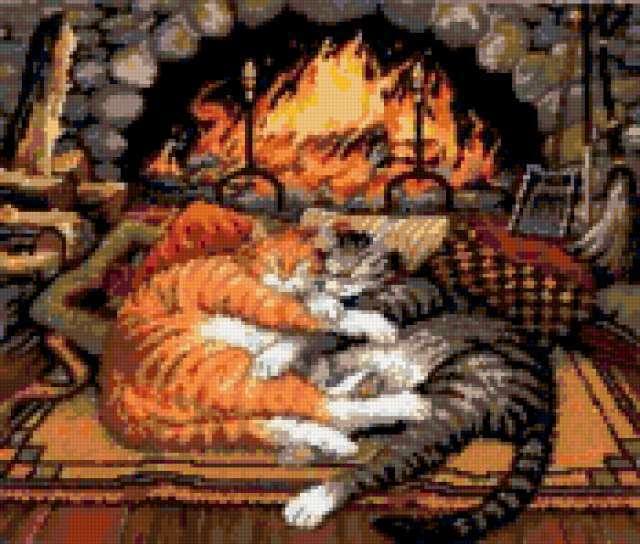Кошки у камина, предпросмотр