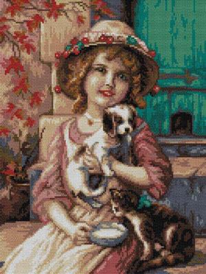 Девочка с щенком и котенком,