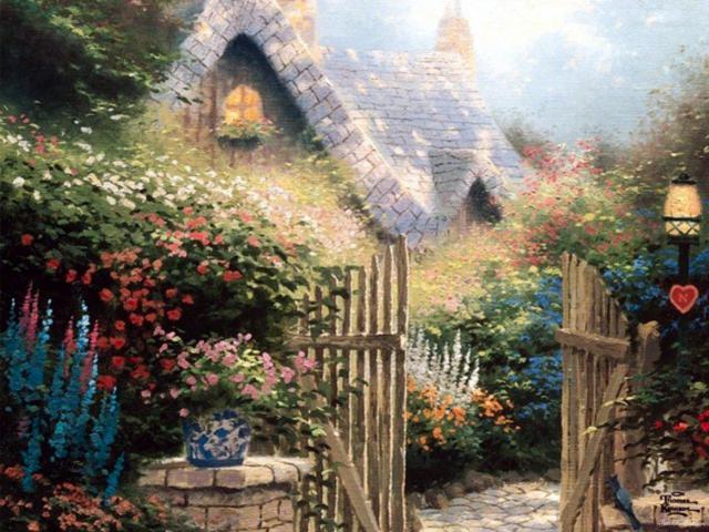 Сельский двор, картина, пейзаж