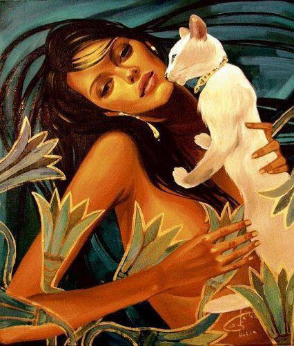 Девушка и кошка, животные,