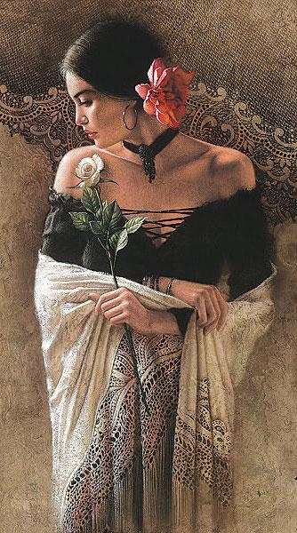 Испанка, девушка, роза, панно