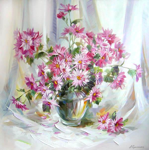 Натюрморт с цветами, живопись