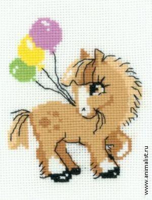 Вышивка детская крестом лошадка