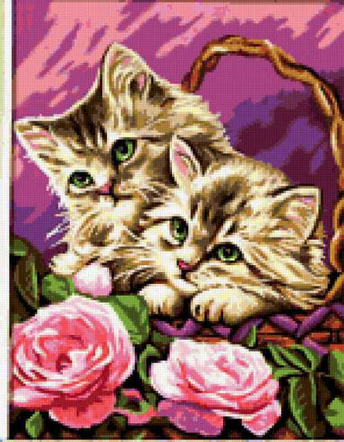 Кошки в лукошке, цветы, пионы,