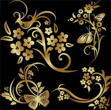 Золотой узор, цветы, бабочки,
