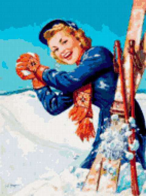 Схема вышивки лыжница