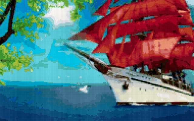 Алые паруса, пейзаж, море,