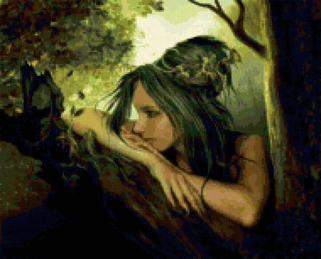Нимфа, нимфа, девушка, дерево