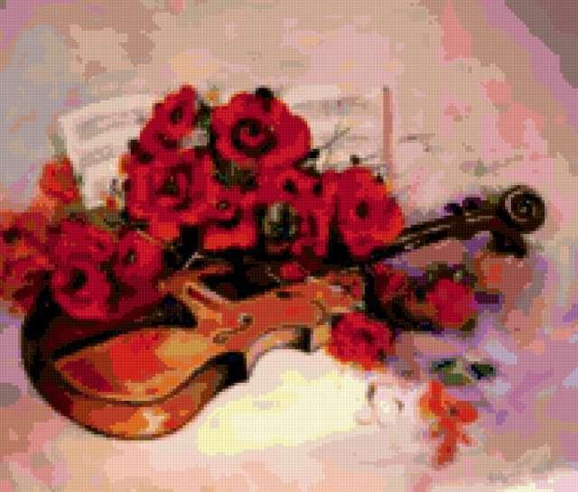 Скрипка и букет из красных роз
