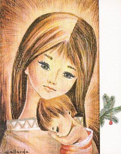 Мать и дитя, живопись, винтаж,