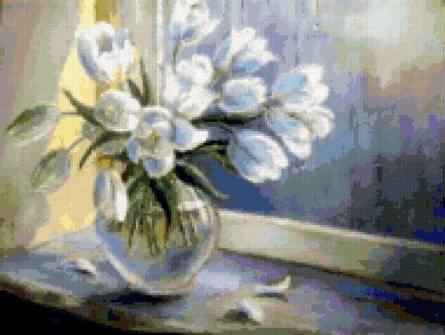 Белые тюльпаны на окне,