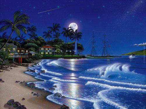 Ночной пляж, оригинал