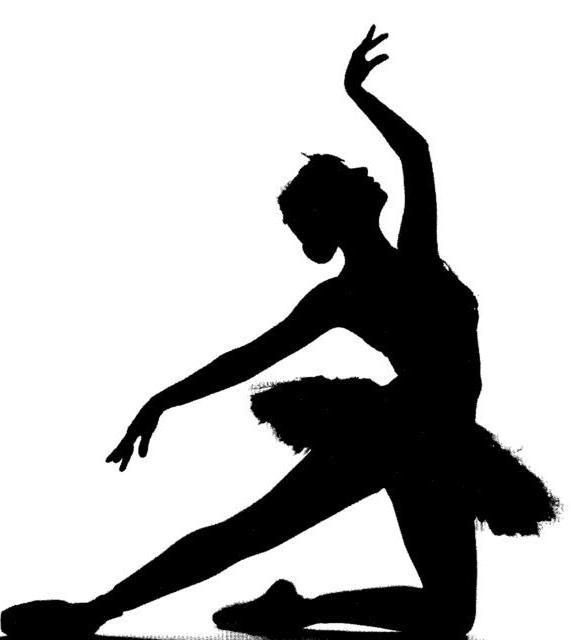 танец, силуэт, черно-белое