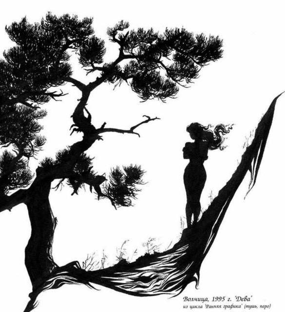 Девушка у дерева, панно,