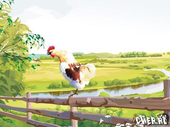 Деревенский пейзаж, деревня