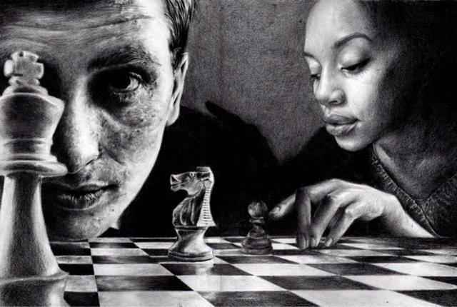 девушка, пара, шахматы,
