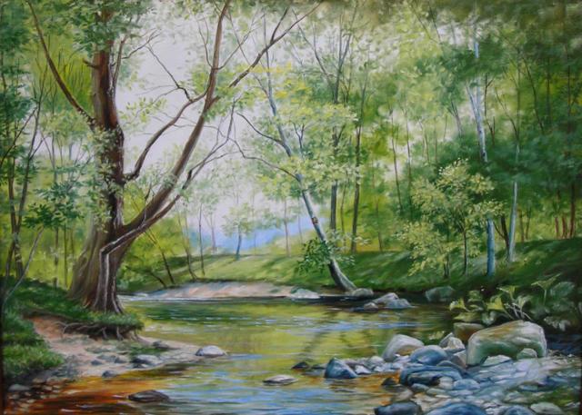 Ручей в лесу, картина, пейзаж,