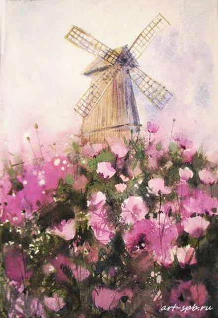 Ветряная мельница, цветы