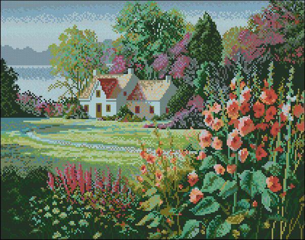 Мальвы у окна, деревня, цветы
