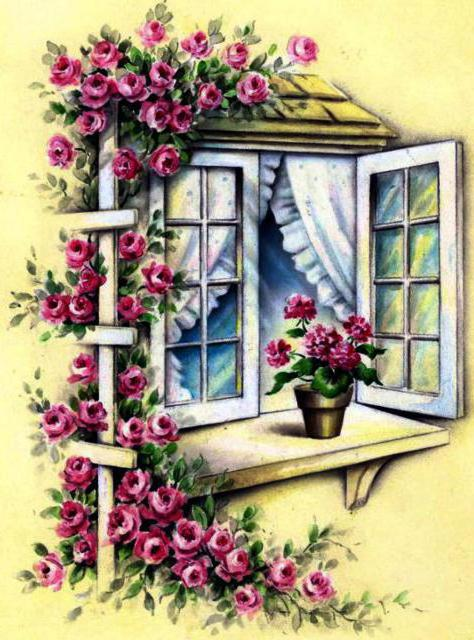 Цветочное окошко, окно, окошко