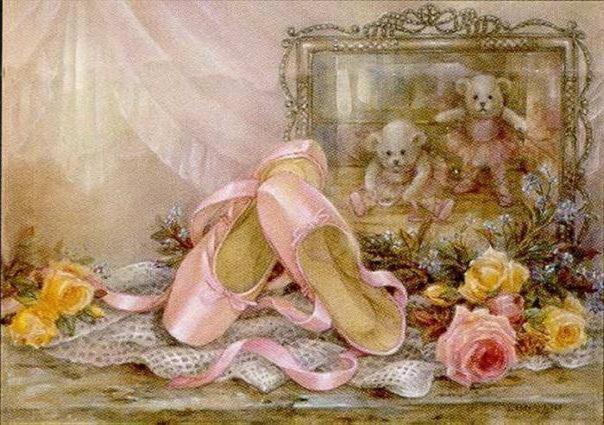Пуанты, картина, цветы, мишки,