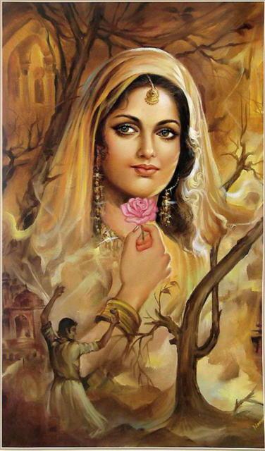 Индианка, живопись, женский
