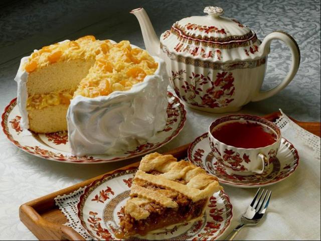 чашка, торт, чайник