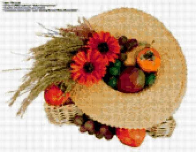 Фрукты и цветы в шляпе,