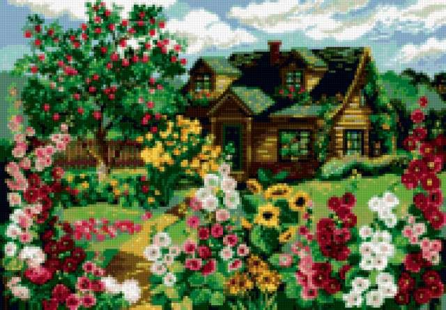 Домик в цветах, предпросмотр