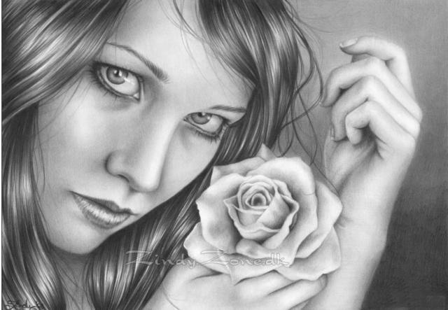 девушка, рисунок, лицо,