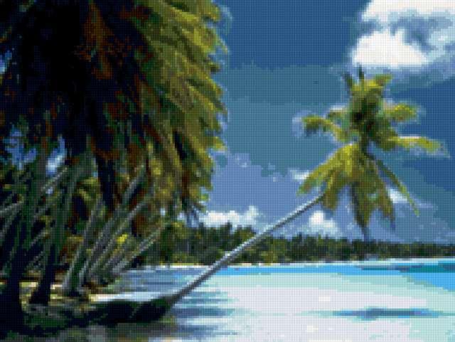 Пальмы на берегу, Таити,