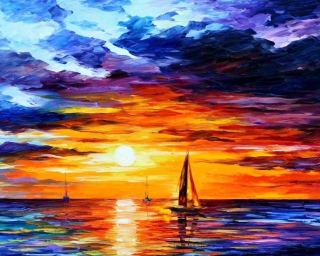 Корабль в море, Море, закат