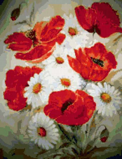 Маки и ромашки, маки, цветы,