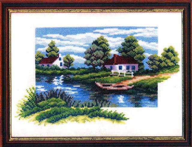 Деревня, картина, пейзаж, лето