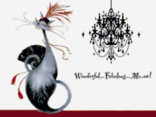 Кошечка с веером, предпросмотр