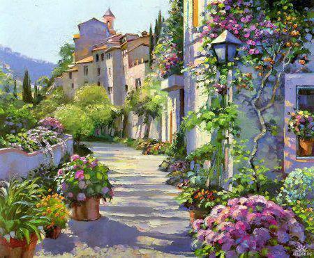 грород, улица, цветы, дома