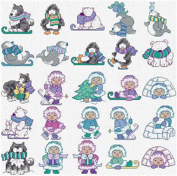 Новогодние мини-вышивки