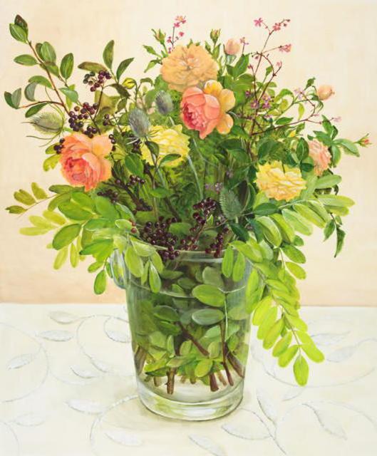 Букет роз и трав, натюрморт,