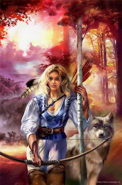 Девушка с волком, с.валуева,