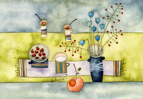 Клубника со сливками, рисунок,