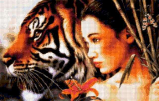 Девушка и тигр, предпросмотр